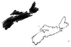 Vettore della mappa di Nova Scotia Canada illustrazione di stock