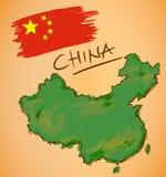 Vettore della mappa e della bandiera nazionale della Cina Fotografie Stock