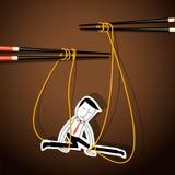 Vettore della marionetta dell'uomo d'affari sulla tagliatella controllata Fotografie Stock Libere da Diritti