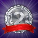 Vettore della medaglia di argento Etichetta rotonda di campionato Premio di onore del vincitore di cerimonia Nastro rosso Illustr Fotografia Stock Libera da Diritti