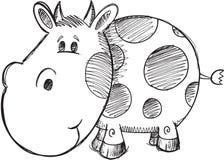 Vettore della mucca di scarabocchio Fotografia Stock