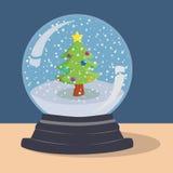 Vettore della palla della neve dell'albero di natale Fotografia Stock