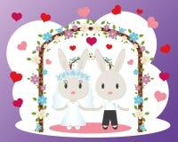 Vettore della partecipazione di nozze dei coniglietti Immagini Stock Libere da Diritti