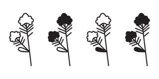 Vettore della pianta con il fiore Insieme dell'icona Fotografie Stock