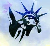 Vettore della pittura dell'acquerello della statua della libertà Fotografia Stock Libera da Diritti