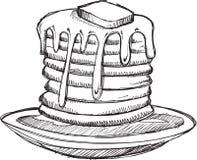 Vettore della prima colazione del pancake di scarabocchio Fotografia Stock