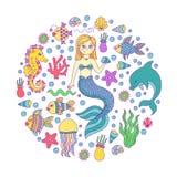 Vettore della raccolta della sirena dell'oceano del mare di scarabocchio Fotografia Stock