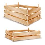 vettore della scatola di legno 3d Tray For Storing Food di legno Isolato sull'illustrazione bianca Fotografia Stock Libera da Diritti