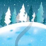 Vettore della scena di inverno, della neve bianca e del cielo blu Fotografie Stock