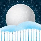 Vettore della scena di inverno, della neve bianca e del cielo blu Immagini Stock