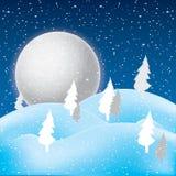 Vettore della scena di inverno, della neve bianca e del cielo blu Immagine Stock