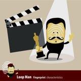 Vettore della serie di caratteristiche dell'uomo di impronta digitale attore Fotografie Stock