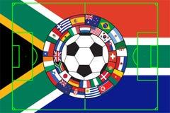 vettore della sfera di calcio con le bandierine Fotografie Stock Libere da Diritti