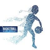 Vettore della siluetta del giocatore di pallacanestro semitono Atleta dinamico di pallacanestro Particelle punteggiate volanti Co illustrazione di stock