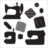 Vettore della siluetta del nero del kit delle macchine per cucire Fotografie Stock Libere da Diritti