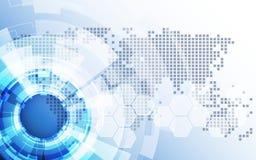 Vettore della soluzione di tecnologia del fondo dell'estratto di affari globali Immagini Stock Libere da Diritti
