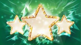 Vettore della struttura della stella d'oro Bellezza Diamond Three Star Emblem raggi Lampada di lustro Elemento di disegno pubblic Immagine Stock