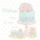 Vettore della torta nunziale watercolor Partecipazione di nozze annata illustrazione vettoriale