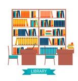 Vettore delle biblioteche con gli scaffali per libri Immagini Stock Libere da Diritti