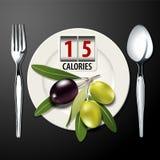 Vettore delle calorie in un olio d'oliva di cucchiaio da tavola Fotografia Stock