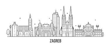 Vettore delle costruzioni della città della Croazia dell'orizzonte di Zagabria grande fotografie stock libere da diritti