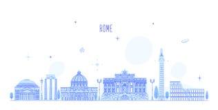 Vettore delle costruzioni della città dell'Italia dell'orizzonte di Roma Immagine Stock