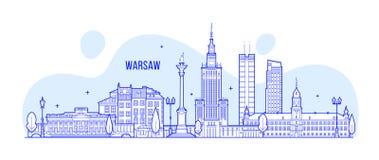 Vettore delle costruzioni della città della Polonia dell'orizzonte di Varsavia Immagini Stock