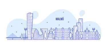 Vettore delle costruzioni della città della Svezia dell'orizzonte di Malmo lineare fotografie stock