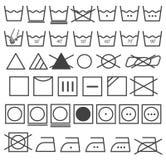 Vettore delle icone della lavanderia fissato (simbolo di lavaggio) Fotografia Stock