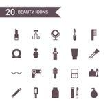 Vettore delle icone di bellezza Icone della siluetta immagine stock libera da diritti