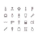 Vettore delle icone di bellezza Linea icone immagini stock libere da diritti