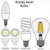 Vettore delle lampadine del risparmiatore di energia Fotografia Stock