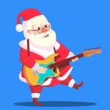 Vettore delle mani di Santa Claus Dancing With Guitar In Illustrazione royalty illustrazione gratis