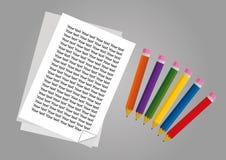 Vettore delle matite e della carta Immagine Stock