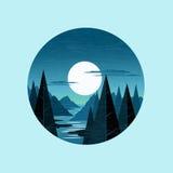 Vettore delle montagne di luce della luna Fotografia Stock Libera da Diritti