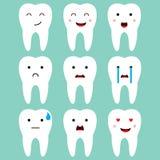 Vettore dentario sveglio di espressioni dei denti illustrazione vettoriale
