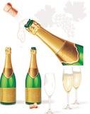 Vettore dettagliato. Bottiglia di Champagne, vetri, sughero Fotografie Stock
