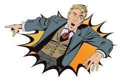 Vettore di affari di presentazione Template L'uomo sorpreso sta indicando il dito royalty illustrazione gratis