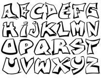 Vettore di alfabeto inglese da A alla Z nello stile in bianco e nero dei graffiti illustrazione di stock