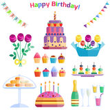 Vettore di anniversario di evento del cocktail della decorazione di sorpresa di buon compleanno di celebrazione delle icone del p Fotografie Stock