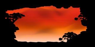 Vettore di bei nuvola dell'albero e fondo dei cieli Fotografie Stock Libere da Diritti