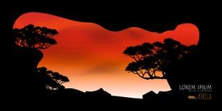 Vettore di bei nuvola dell'albero e fondo dei cieli Immagini Stock Libere da Diritti