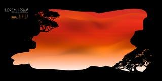 Vettore di bei nuvola dell'albero e fondo dei cieli Fotografia Stock