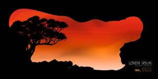 Vettore di bei nuvola dell'albero e fondo dei cieli Fotografie Stock