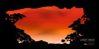 Vettore di bei nuvola dell'albero e fondo dei cieli Immagine Stock Libera da Diritti