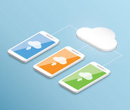 Vettore di calcolo dello smartphone della nuvola isometrico Immagini Stock Libere da Diritti
