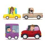 Vettore di Cartoon Collection Set dell'autista di automobili Fotografie Stock