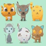 Vettore di Cat Cartoon Cute Collaction Set Immagini Stock Libere da Diritti