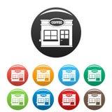 Vettore di colore fissato icone commerciali del caffè Immagini Stock