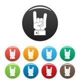 Vettore di colore fissato icone della roccia della mano Fotografia Stock Libera da Diritti